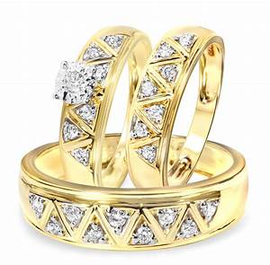 1 2 carat diamond trio wedding ring set 14k yellow gold for Yellow gold wedding rings sets