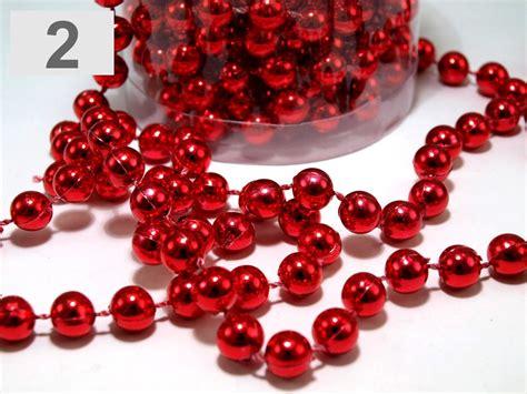 24ft red hanging bead garland christmas tree xmas tinsel