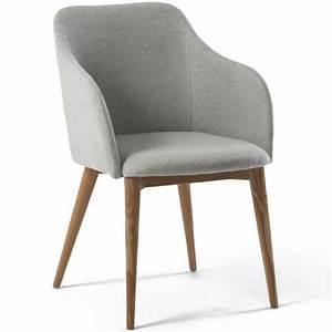 Chaise avec accoudoir design scandinave VARM gris clair Achat / Vente chaise Gris Cdiscount