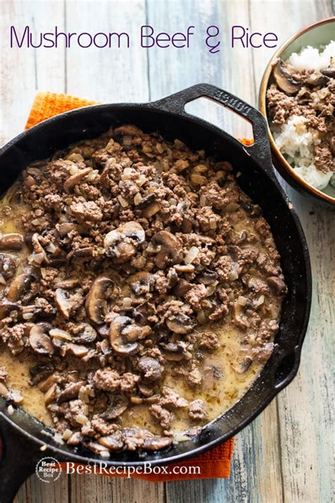 skillet mushroom beef  rice recipe quick easy
