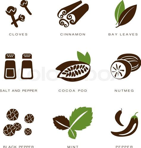 Colorful web icon set spices, condiments and herbs   Stock