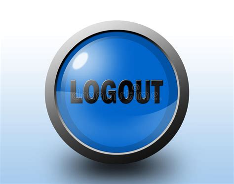 Logout Icon. Circular Glossy Button. Stock Illustration