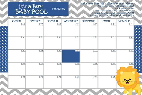 baby due date pool template customize baby calendar for baby shower pool theme