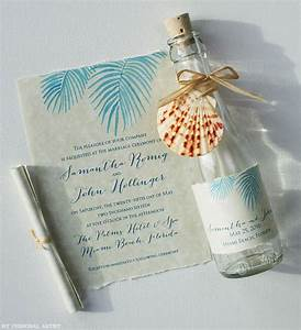 beach wedding invitations painted palm fronds glass bottles With beach wedding invitations in a bottle uk