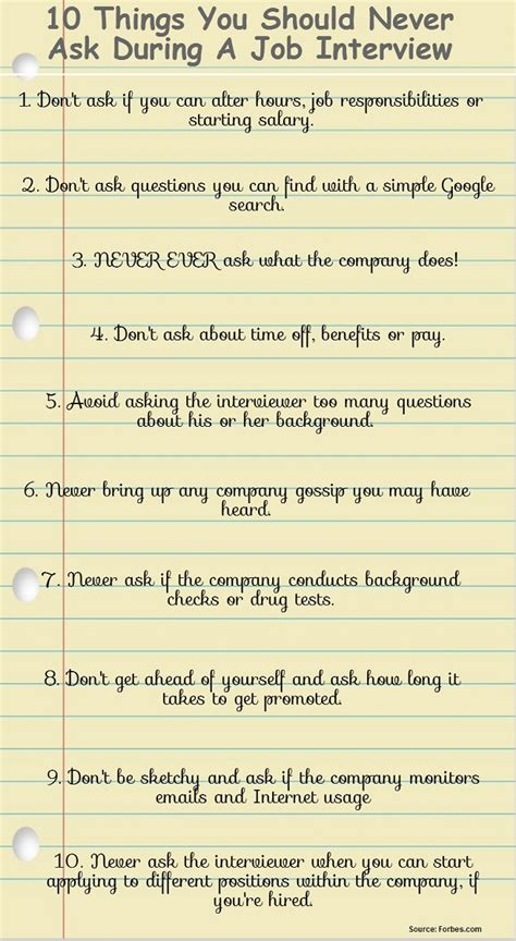good questions to ask during a job interview 10 things you should never ask during a job interview