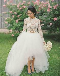 2016 new arrival two piece long sleeve wedding dress high With long sleeve high low wedding dresses