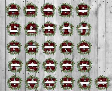 buffalo plaid split christmas wreath alphabet sublimation png digital  svg corner