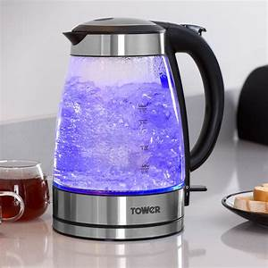 Tower Glass Kettle - Stainless Steel