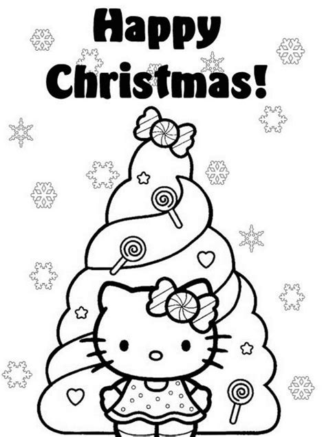 kitty christmas coloring pages cute  worksheets