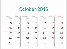 October 2016 Calendar Printable with Holidays PDF and JPG