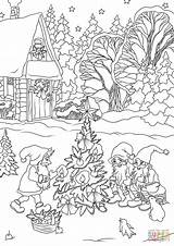 Coloring Christmas Pages Tree Gnomes Decorating Printable Drawing Elves Books Merry Crafts sketch template