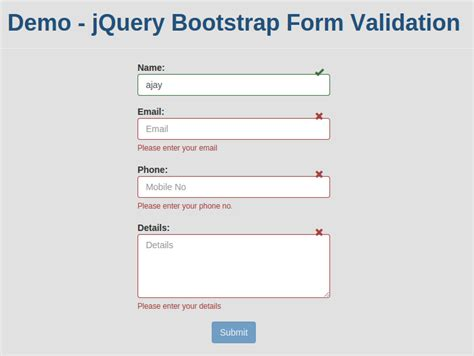 powerful jquery bootstrap form validation with exle