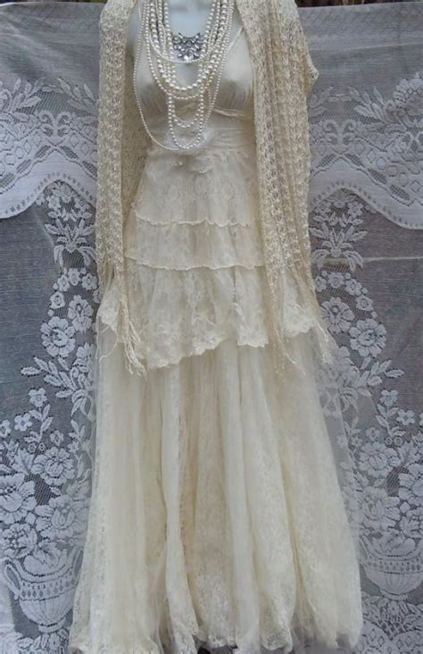 Vintage Opulence by Lace Wedding Dress White Crochet Cotton Tulle Vintage