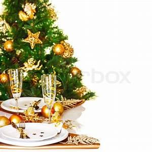 Photo of Christmastime table setting border, beautiful ...