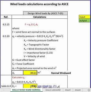 Wind Loads Calculations Spreadsheet According To Asce In