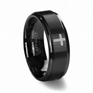 black brushed cross wedding ring With cross wedding ring
