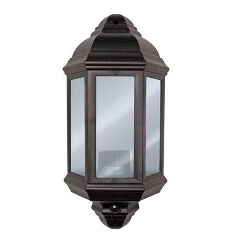exterior half lantern black polycarbonate wall light with