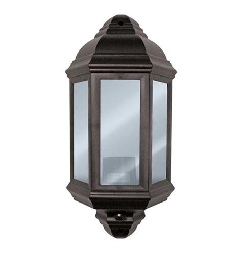 exterior half lantern black polycarbonate wall light with