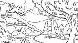 Coloring Gambar Mewarnai Stream Forest Nature Animals Scene Waterfall Pemandangan Birds Doodle Lds Library Fish Scenery Scenes Trees Pdf Tablet sketch template