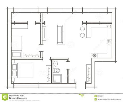 croquis de chambre croquis de plan d 39 appartement à deux chambres illustration