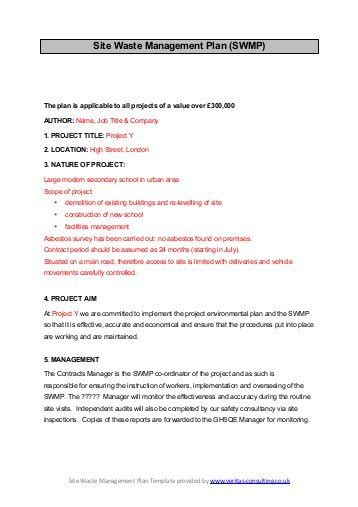 Waste Management Plans Template by Logo Here Enter Details R