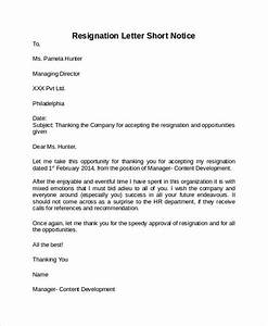 Sample Resignation Letter Short Notice 6 Free Documents Safasdasdas RESIGNATION LETTER EXAMPLE 8 How To Write Resign Letter Ledger Paper Sample Resignation Letter With 2 Week Notice 6 Examples