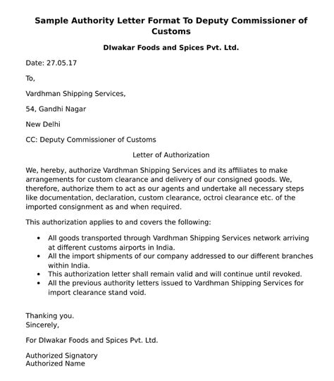 authority letter format  send  deputy commissioner