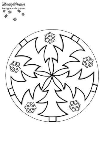 winterbilder mandala schneeflocken weihnachtsbaum