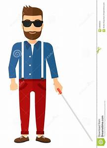 Blind Man With Stick Vector Illustration