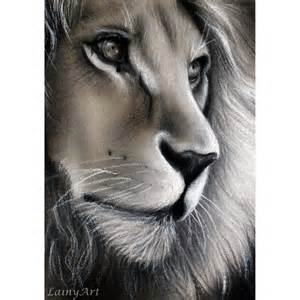 Realistic Charcoal Drawing Lion