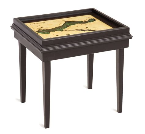 nautical end table custom wood charts of lake charlevoix end table from