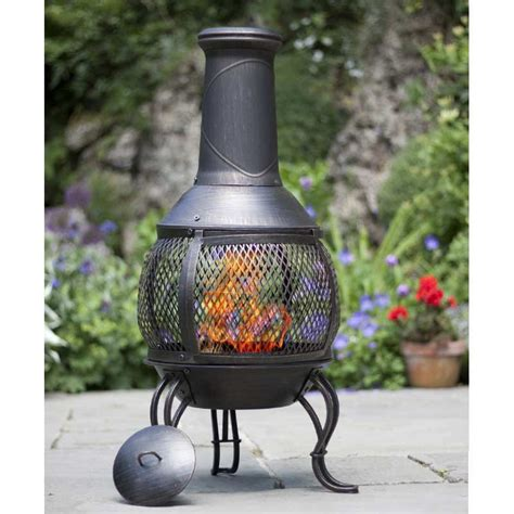 garden chimineas la hacienda steel mesh chiminea 90cm on sale