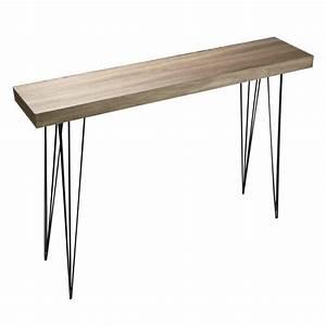 Table Bois Et Noir : table console d entree epuree design bois et pieds ~ Dailycaller-alerts.com Idées de Décoration