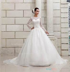Princess ball gown lace patterns illusion neck long for Long sleeve ball gown wedding dress