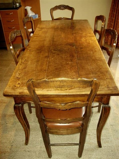 antique proven 231 al country table with six chairs