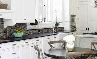 White Kitchen Backsplash Tile Black Granite White Cabinet Glass Tile Idea Backsplash