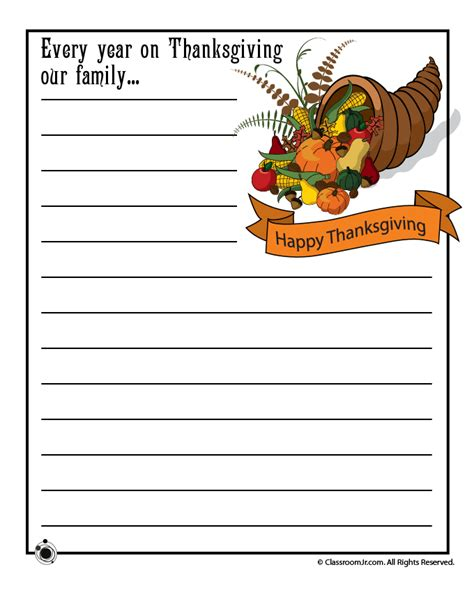 printable thanksgiving day writing prompts thanksgiving