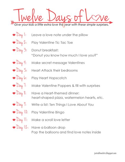 Kids Valentine's Day Activity Twelve Days Of Love