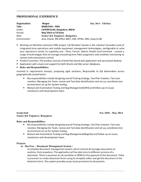 best testing resume sle for 2 years experience 1 photos
