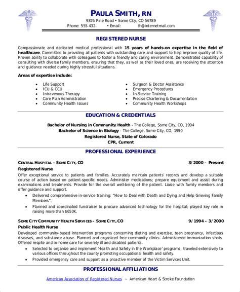 Resume For Registered by Sle Nursing Resume 9 Exles In Pdf