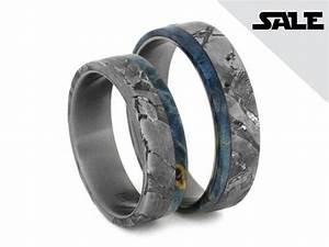 On SALE Titanium Wedding Band Set Seymchan Meteorite