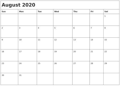 august month calendar