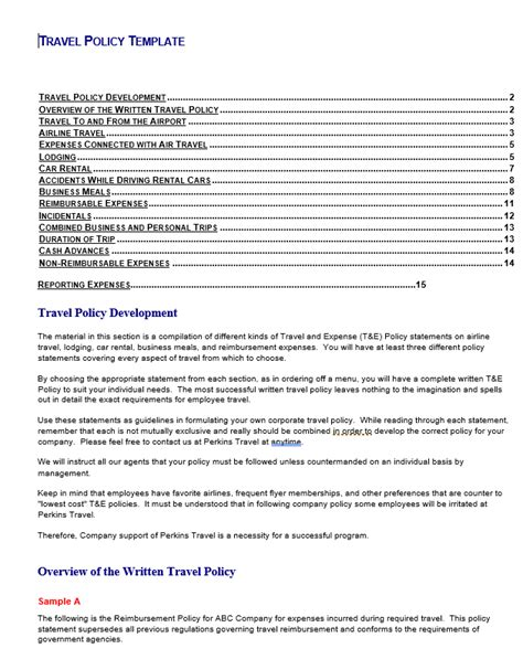 Travel policy template costumepartyrun great travel policy template ideas resume ideas accmission Image collections