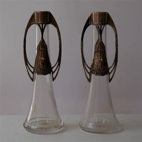 Silver Vases For Sale by Pair Of Wmf Nouveau Silver Plated Vases For Sale At