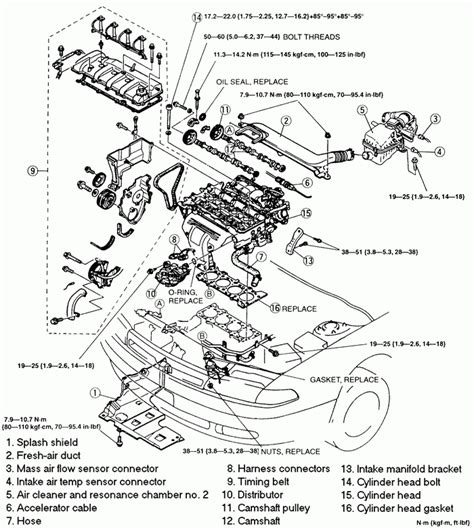 cylinder head   mazda protege engine diagram