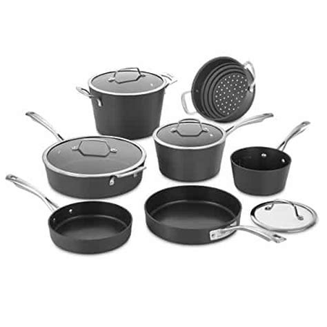 cookware anodized cuisinart hard conical induction piece non aluminum 62i stove stick glass pots gas ready electric medium pans classis