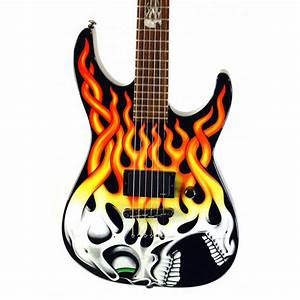 Esp Ltd Screaming Flaming Skull Graphic Electric Guitar W