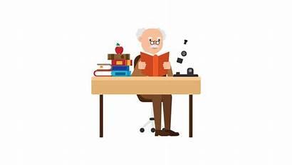 Cartoon Desk Svg Reading Professor Commons Kb