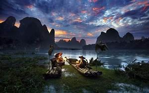 landscape, , sunrise, , nature, , mountain, , sky, , river, , clouds