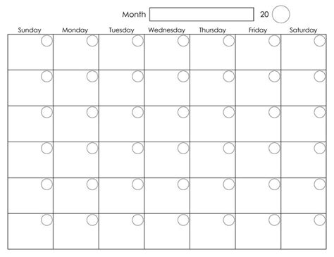 Calender Template Printable Blank Monthly Calendar Activity Shelter